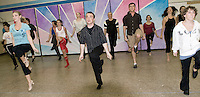 """""""On Stage"""" Theaters cast for """"Chorus Line"""" practices their routines at the Bloom's Variety building Monday evening to prepare for their upcoming performances to be held at the InterLakes High School Auditorium this coming weekend.   (Karen Bobotas/for the Laconia Daily Sun)"""