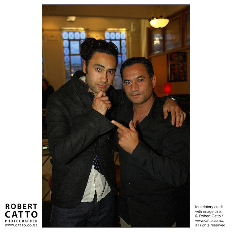 Taika Waititi;Temuera Morrison at the Premiere of short film Tama Tu at the Embassy Theatre, Wellington, New Zealand.<br />