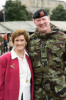 On his 18th tour.....Sgt Major Fintan Lambe and his Mother Mary at the ceremony at the Cathedral in Galway before deployment to the Golan Heights in Syria. Photo:Andrew Downes, XPOSURE