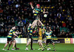 Christian Day of Northampton Saints offloads the ball to Nic Groom of Northampton Saints - Mandatory by-line: Robbie Stephenson/JMP - 07/01/2017 - RUGBY - Franklin's Gardens - Northampton, England - Northampton Saints v Bristol Rugby - Aviva Premiership