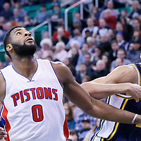25 January 2016: Detroit Pistons center Andre Drummond (0) vies for the rebound with Utah Jazz center Rudy Gobert (27) during the Detroit Pistons 95-92 victory over the Utah Jazz, at the Vivint Smart Home Arena, Salt Lake City, Utah, USA.