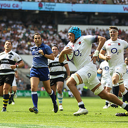 Zach Mercer of England scores his teams third try