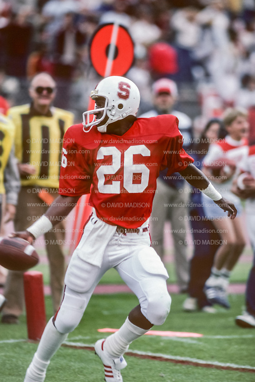 COLLEGE FOOTBALL:  Mike Tolliver, #26, wide receiver, Stanford v UCLA, Oct 10, 1981.  Photograph by David Madison (www.davidmadison.com).