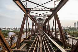 Architecture of Long Bien Bridge, Hanoi, Vietnam, Southeast Asia
