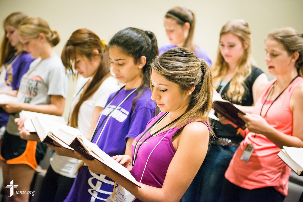 Students sing during chapel at Concordia University Texas on Wednesday, July 16, 2014, in Austin, Texas. LCMS Communications/Erik M. Lunsford
