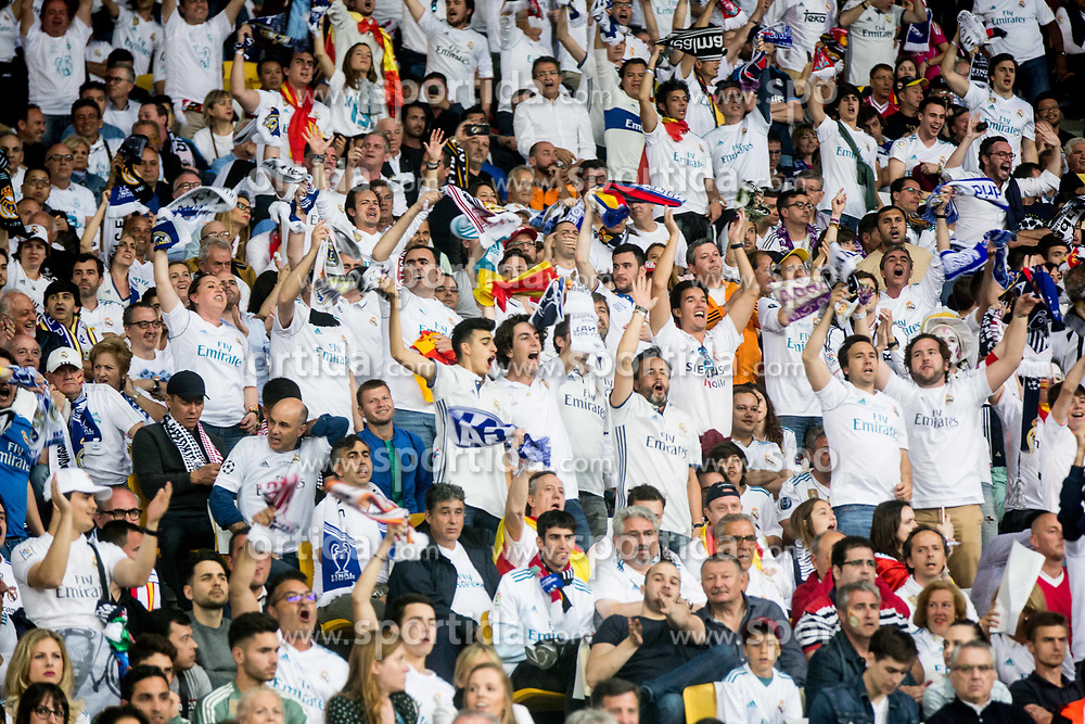 Supporters of Real Madrid during the UEFA Champions League final football match between Liverpool and Real Madrid at the Olympic Stadium in Kiev, Ukraine on May 26, 2018.Photo by Sandi Fiser / Sportida
