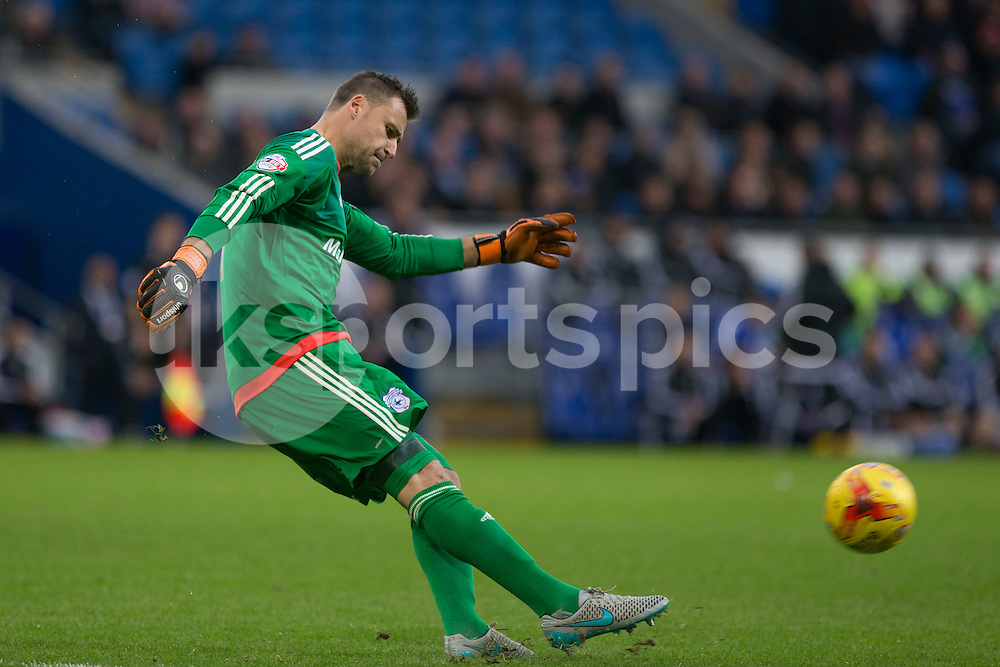 David Marshall of Cardiff City during the Sky Bet Championship match between Cardiff City and Burnley at the Cardiff City Stadium, Cardiff, Wales on 28 November 2015. Photo by Mark Hawkins.