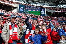 Bristol City supporters celebrate in the stands after Aden Flint scores a goal in the first half to make it 1-0 - Photo mandatory by-line: Rogan Thomson/JMP - 07966 386802 - 22/03/2015 - SPORT - FOOTBALL - London, England - Wembley Stadium - Bristol City v Walsall - Johnstone's Paint Trophy Final.