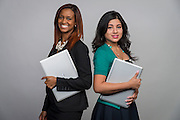 Brittany Lewis, left, and Elvira Salazar, right, pose for a photograph, October 17, 2014.