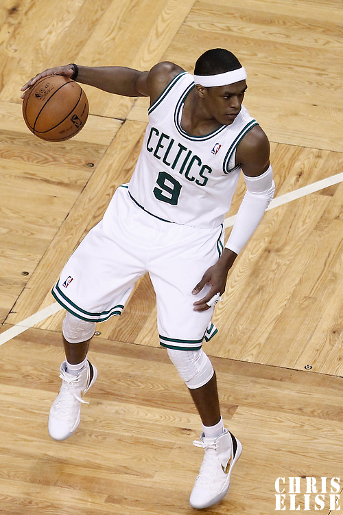 01 June 2012: Boston Celtics point guard Rajon Rondo (9) looks to pass the ball during the Boston Celtics 101-91 victory over the Miami Heat, in Game 3 of the Eastern Conference Finals playoff series, at the TD Banknorth Garden, Boston, Massachusetts, USA.