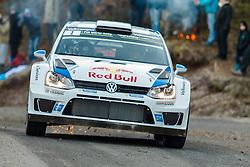 14.01.2014, Shakedownstrecke, Monte Carlo, FRA, FIA, WRC, Rallye Monte Carlo, Shakedown, im Bild OGIER Sebastien / INGRASSIA Julien ( VOLKSWAGEN MOTORSPORT (DEU) / VOLKSWAGEN POLO R ), Funken // during the Shakedown of FIA Rallye Monte Carlo held near Monte Carlo, France on 2014/01/14. EXPA Pictures © 2014, PhotoCredit: EXPA/ Eibner-Pressefoto/ Neis<br /> <br /> *****ATTENTION - OUT of GER*****