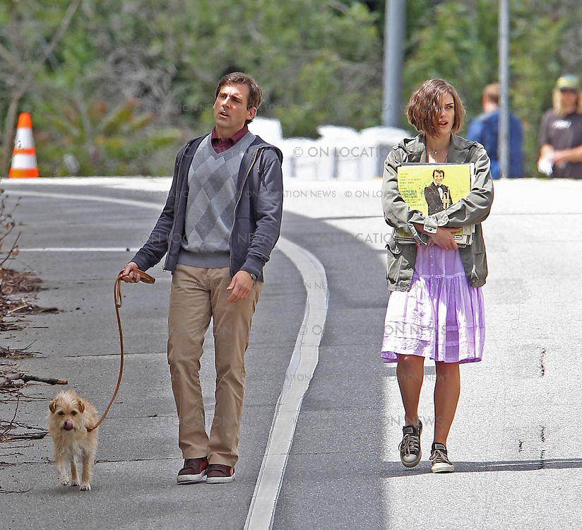 "***EXCLUSIVE***Steve Carell, Keira Knightley and a dog with the character name ""Sorry"" film a scene for ""Seeking a Friend for the End of the World"". In this scene, the trio walk down the street trying to hitch a ride. As  Knightley carries some vinyl record albums, Carell pulls out a letter as they argue about something. Knightley manages to flag down a truck driver who is played by former ""CSI"" lead actor William Peterson. On set the previous day, Carell & Knightley filmed a scene in which they shot the truck driver dead and buried him in a field but Accidentally also buried the truck's keys in the process. May 18th, 2011  Los Angeles, CA.  Photo by Eric Ford/ On Location News 818-613-3955  info@onlocationnews.com"