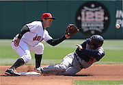 April 11, 2011:  Indianapolis Indians shortstop Chase d'Arnaud (19) takes a throw from Indianapolis Indians catcher Wyatt Toregas (44) during an MILB between the Toledo Mudhens and the Indianapolis Indians at Victory Field in Indianapolis, Indiana. Toledo beat Indianapolis 4-2.