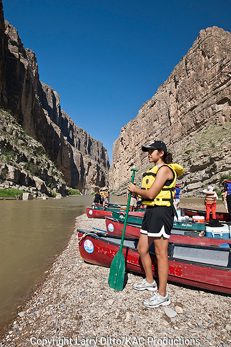 Big Bend River Tours leading a canoeing trip through Santa Elena Canyon at Big Bend National Park, Texas on the Rio Grande