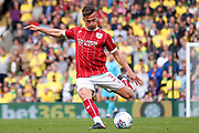 Bristol City defender Joe Bryan (3) with a shot during the EFL Sky Bet Championship match between Norwich City and Bristol City at Carrow Road, Norwich, England on 23 September 2017. Photo by Simon Davies.