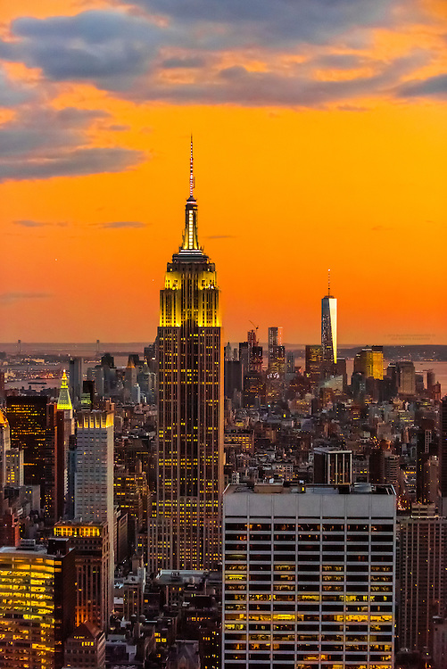 Empire State Building with One World Trade Center in background on right, New York, New York USA.