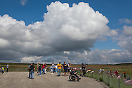 People visiting the Flight 93 National Memorial site's temporary memorial  that overlooks the field where the flight crashed in Shanksville Pennsylvania on 9/11, 2001. The temporary site will close on Sept. 9th at 4 P.M. and on Sept. 10 the official memorial will open in time for the 10th anniversary of 9/11