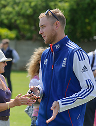 Brook Priory School, Oakham. Ex-Pupil and England cricketer Stuart Broad returned to his old school for their Sports Day. He signed autographs and spent time chatting to some of his old teachers before helping to time runners in some of the races, <br /> Oakham, United Kingdom, Wednesday 26th June 2013. Photo by Nico Morgan / i-Images
