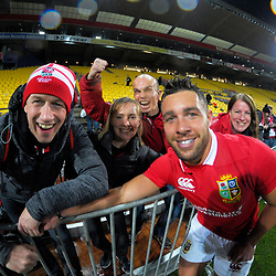 Rhys Webb with fans after the 2017 DHL Lions Series 2nd test rugby match between the NZ All Blacks and British & Irish Lions at Westpac Stadium in Wellington, New Zealand on Saturday, 1 July 2017. Photo: Dave Lintott / lintottphoto.co.nz