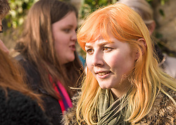 Protesters in Edinburgh, men as well as women, joined the Edinburgh Women's March protests that are taking place across the world to protest for women's rights and against the new US President Donald Trump. Protesters gathered outside the US Consulate and listened to various speakers earlier this afternoon in a peaceful and well mannered protest. Pictured Event organiser 16 year old Leah Higgins. <br /> <br /> <br /> &copy; Jon Davey/ EEm
