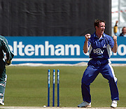 2005 G&G, Sussex vs Nottingham at Hove, ENGLAND, 15.05.2005, Notts batting. James Kirtley, celebrates after he removes the bails to run Jason Gallen out..Photo  Peter Spurrier. .email images@intersport-images...