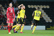 Burton Albion forward Liam Boyce (27) heads a goal and celebrates 1-0 during the EFL Cup match between Burton Albion and Morecambe at the Pirelli Stadium, Burton upon Trent, England on 27 August 2019.