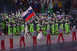 PYEONGCHANG-GUN, SOUTH KOREA - FEBRUARY 09: Flag bearer of Slovenia Vesna Fabjan leads the team during the Opening Ceremony of the PyeongChang 2018 Winter Olympic Games at PyeongChang Olympic Stadium on February 9, 2018 in Pyeongchang-gun, South Korea. Photo by Kim Jong-man / Sportida