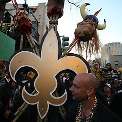 Feb 09, 2010; New Orleans, LA, USA; A New Orleans Saints fans on the street during the Super Bowl celebration parade for the New Orleans Saints 31-17 victory over the Indianapolis Colts in Super Bowl XLIV as the parade passed through the downtown streets of New Orleans, Louisiana.  Mandatory Credit: Derick E. Hingle-US-PRESSWIRE.