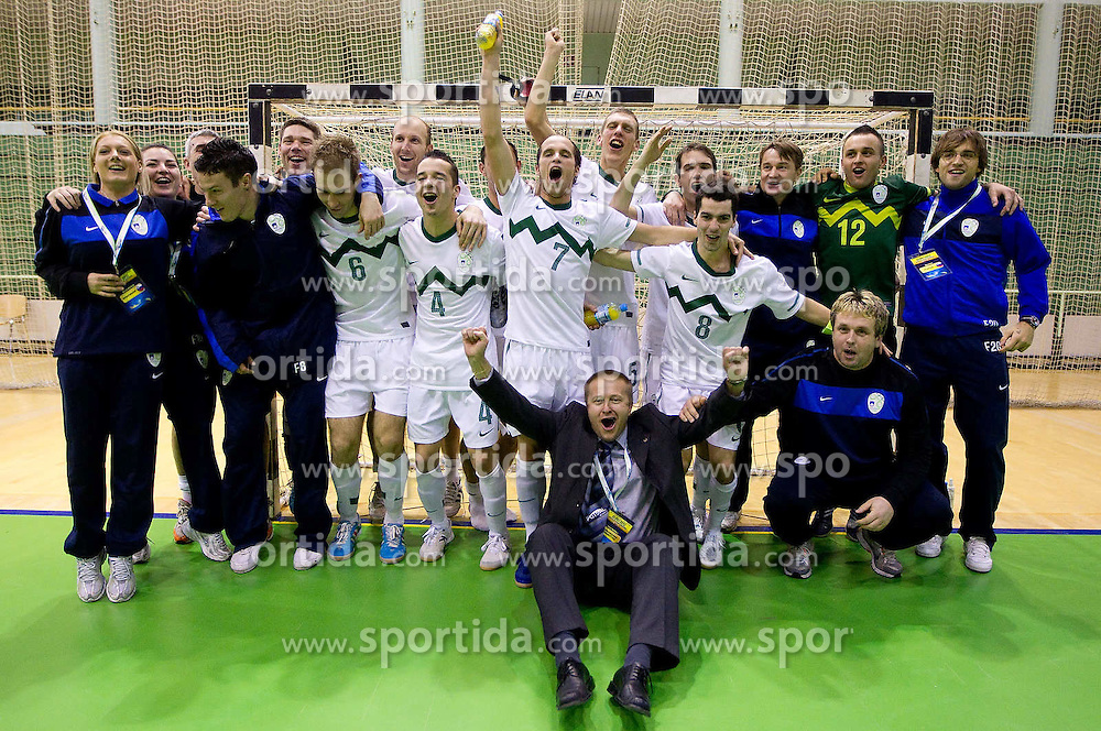 Players of Slovenia celebrate after winning during the futsal match between National Teams of Slovenia and Latvia in Qualifications for European Championships, on February 25, 2011 in Arena Tri Lilije, Lasko, Slovenia. Slovenia defeated Latvia 4-3 and qualified for Euro 2012 in Croatia.  (Photo By Vid Ponikvar / Sportida.com)