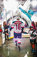 KELOWNA, CANADA - DECEMBER 30: Carsen Twarynski #18 of the Kelowna Rockets walks to the ice against the Victoria Royals  on December 30, 2017 at Prospera Place in Kelowna, British Columbia, Canada.  (Photo by Marissa Baecker/Shoot the Breeze)  *** Local Caption ***