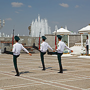 Soldiers marching during the changing of the guard at Independence Park, Ashgabat, Turkmenistan
