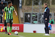 AFC Wimbledon Manager Neal Ardley & Lyle Taylor forward for AFC Wimbledon (33) during the Sky Bet League 2 match between Wycombe Wanderers and AFC Wimbledon at Adams Park, High Wycombe, England on 2 April 2016. Photo by Stuart Butcher.