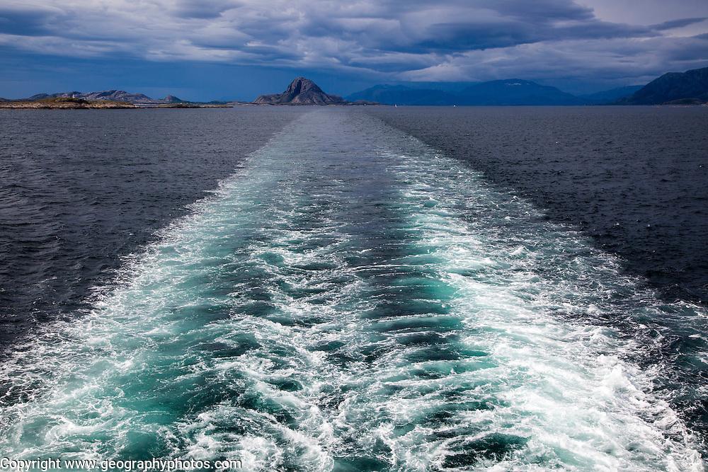 Ship's wake view to Torghatten, Torget island, Brønnøy, Nordland county, Norway