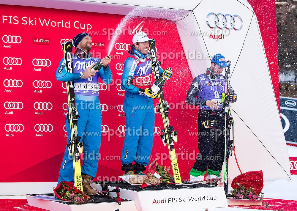 02.12.2016, Val d Isere, FRA, FIS Weltcup Ski Alpin, Val d Isere, Super G, Herren, Siegerpräsentation, im Bild v.l. Aksel Lund Svindal (NOR, 2. Platz), Kjetil Jansrud (NOR, 1. Platz), Dominik Paris (ITA, 3. Platz) // f.l.t.r. second Placed Aksel Lund Svindal of Norway, race winner Kjetil Jansrud of Norway, third placed Dominik Paris of Italy during the winner presentation for the men's SuperG of the Val d Isere FIS Ski Alpine World Cup.. Val d'Isere, France on 2016/02/12. EXPA Pictures © 2016, PhotoCredit: EXPA/ Johann Groder