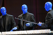 PHILADELPHIA - JANUARY 26: Members of Blue Man Group perform during for the 151st Anniversary of the Academy of Music January 26, 2008 in Philadelphia, Pennsylvania. The Philadelphia Orchestra debuted one of Billy Joel's original compositions and Joel performed for the first time with a major orchestra. (Photo by William Thomas Cain/Getty Images)