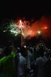 August 14, 2017 - Lahore, Punjab, Pakistan - Pakistani people watch fireworks on historical place Minar-e-Pakistan in Lahore on August 14, 2017 overnight during the celebrations marking Pakistan's Independence Day. Pakistan on August 14 celebrated its 70th anniversary of the country's independence from British rule. (Credit Image: © Rana Sajid Hussain/Pacific Press via ZUMA Wire)