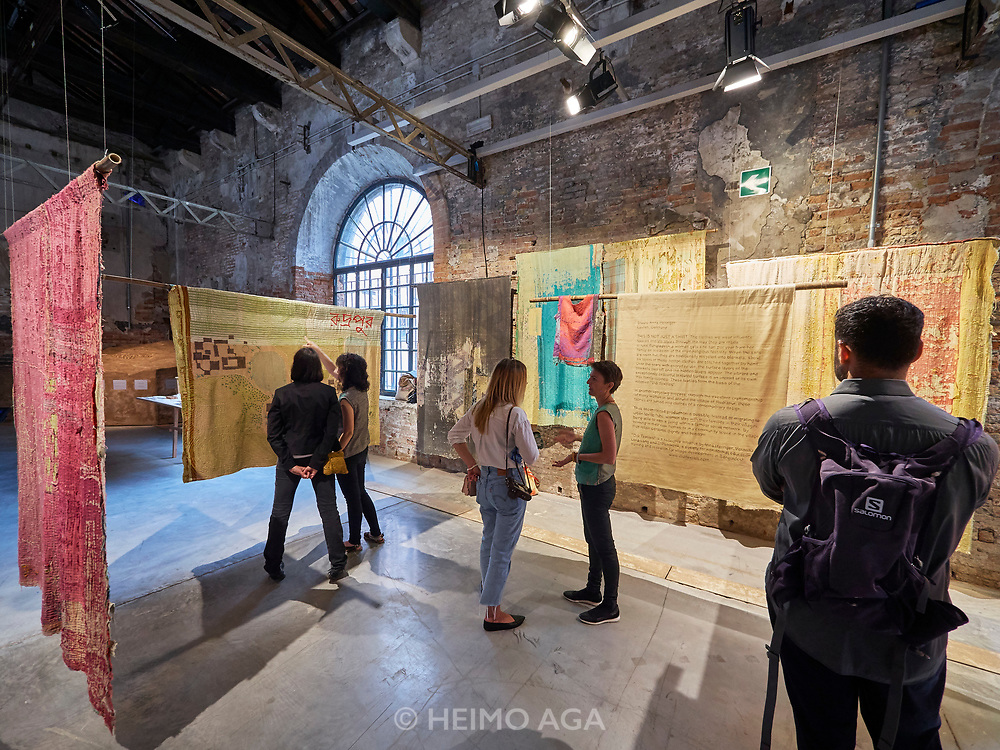 """FREESPACE - 16th Venice Architecture Biennale. Arsenale. Studio Anna Heringer (Germany), """"THIS IS NOT JUST A SHIRT""""."""
