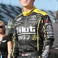 Nationwide driver Michael Annett at Daytona International Speedway on February 18, 2011 in Daytona Beach, Florida. (AP Photo/Alex Menendez)