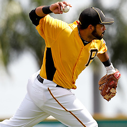 March 22, 2012; Bradenton, FL, USA; Pittsburgh Pirates third baseman Pedro Alvarez (24) throws out Tampa Bay Rays left fielder Sam Fuld (not pictured) on a ground ball during the top of the first inning of a spring training game at McKechnie Field. Mandatory Credit: Derick E. Hingle-US PRESSWIRE