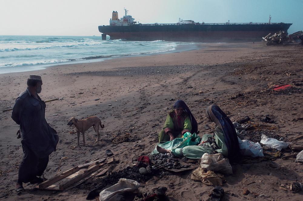 Women sought scrap metal at the Gadani ship breaking yard, Balochistan Province, Pakistan on August 16, 2011.
