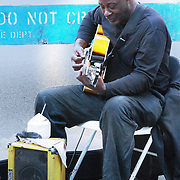Street musician performs at a street fair on the Upper West Side in New York