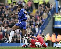 Didier Drogba and Matthew Upson<br /> Chelsea v Birmingham. 09/04/05.