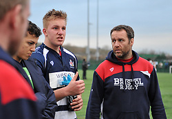 James Dun (c) – Millfield of Bristol Academy U18 and coach Martin Irish during half-time  - Mandatory by-line: Paul Knight/JMP - 07/01/2017 - RUGBY - SGS Wise Campus - Bristol, England - Bristol Academy U18 v Exeter Chiefs U18 - Premiership U18 League