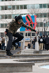 Before scheduled demolition skaters are seen taking the opportunity for one last ride on Feb. 13, 2016 at the Iconic Center City Philadelphia, PA., LOVE Park, as it is going to be redeveloped.