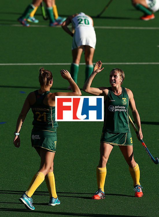 JOHANNESBURG, SOUTH AFRICA - JULY 20:  Nicolene Terblanche of South Africa celebrates victory with Jessica O'Connor of South Africa during the 5th/ 8th place play-off match between South Africa and Ireland at Wits University on July 20, 2017 in Johannesburg, South Africa.  (Photo by Jan Kruger/Getty Images for FIH)