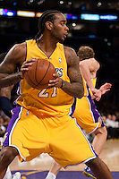 06 November 2009: Forward Josh Powell of the Los Angeles Lakers grabs a rebound against the Memphis Grizzles during the first half of the Lakers 114-98 victory over the Grizzles at the STAPLES Center in Los Angeles, CA.