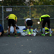 November 1, 2015 - New York, NY : Runners pick up their belongings in Central Park after completing the 2015 TCS New York City marathon on Sunday.<br />  CREDIT: Karsten Moran for The New York TImes