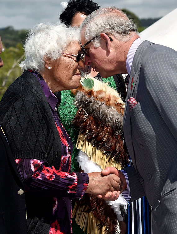 Prince Charles, Prince of Wales, is greeted by local Iwi at the Te Rewa Rewa bridge part of the Coastal Walkway during a visit to the Te Rewa Rewa bridge on the coastal walkwa, New Plymouth, New Zealand, New Zealand, Monday, November 09, 2015. Credit:SNPA / AFP, Marty Melville  **POOL**
