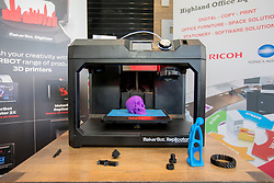 #hellodigital Extra 2017 event, held at Eden Court in Inverness.<br /> <br /> Pictured:a 3D printer finishing printing a model<br /> <br /> Malcolm McCurrach | EEm | Mon, 20, February, 2017