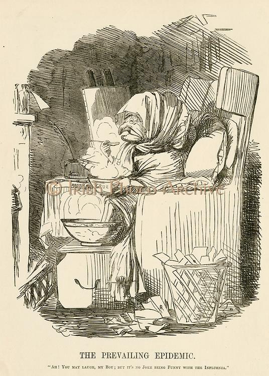 'Mr Punch suffering in the Flu epidemic in Britain in 1847. John Leech Cartoon from ''Punch'', London, 1847.'